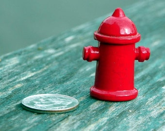 Vintage Miniature  Dollhouse Red Metal Fire Hydrant #104