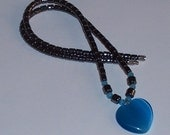 Hematite Necklace with Blue Heart Pendant