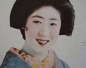 GORGEOUS Vintage Japanese Geisha Maiko Smiling Postcard