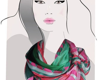 Hand painted silk scarf.  (Green and Pink):  Deco Mountains