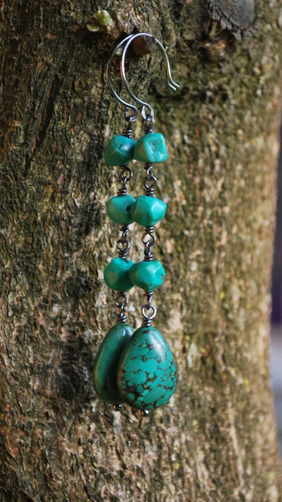 Long Turquoise Dangle Drop Earrings with Oxidized Sterling SIlver - December Birthstone