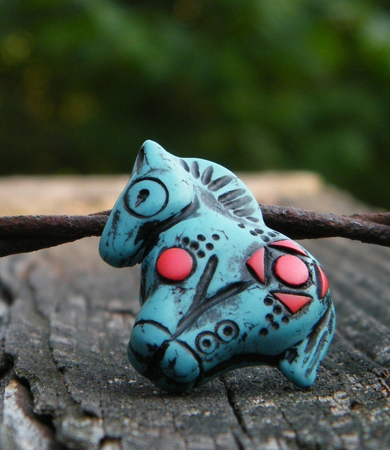 Little Turquoise Pony bead with coral inlay - spotted pattern (ready to ship)
