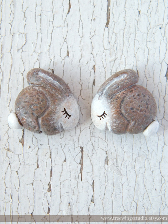 Mirrored Pair of little bunny rabbit beads - Sleepy Woodland Critters (ready to ship)