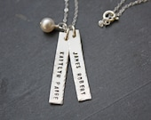 Personalized Necklace - Hand Stamped Necklace - Personalized Mothers Jewelry - Long Bar Necklace - Long Bars With Childrens Names