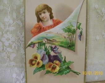 SALE....Pretty Girl with Pansies and Outdoor Scene - Colorful Reward of Merit Card - 1800's