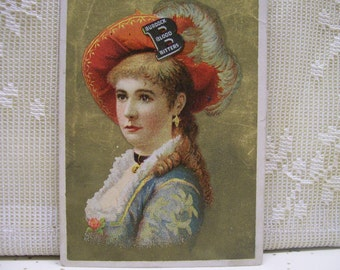 Pretty Girl with Large Feather Hat -  Victorian Trade Card - Burdock Blood Bitters - 1880's