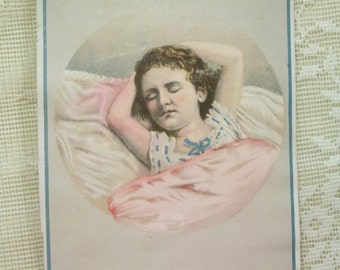 SALE.....Sleeping Girl in Nightgown - Rare Victorian Trade Card - Remer's Tea Stores - 1800's