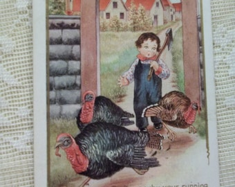Boy Chasing Turkeys with Axe - Embossed Thanksgiving Postcard - 1919