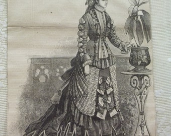 Pretty Lady in Lovely Bustle Dress with layers of Ruffles and Bows - Antique Fashion Harpers Bazar Plate - 1875