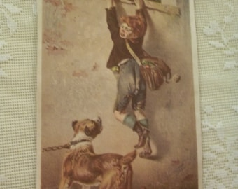SALE....Frightened Boy Trying to get away from Vicious Dog - Victorian Scrap Print - 1800's