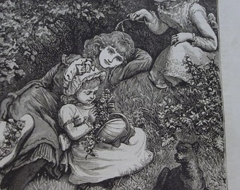 Pretty Little Girls and Their Dog - Antique Steel Engraving Print - 1880's