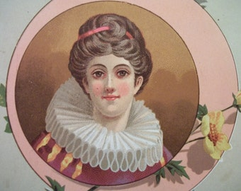 Victorian Card of Pretty Lady with Huge Odd Ruffled Collar - 1880's