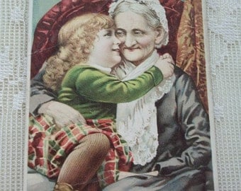Loving Image of Little Girl Hugging Grandma - Prudential Insurance - Victorian Trade Card - 1886