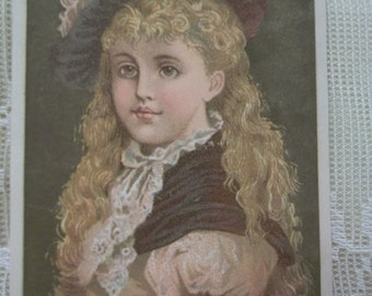 Pretty Girl with Long Blond Hair and Big Hat - Victorian Trade Card - The Village Store - 1800's