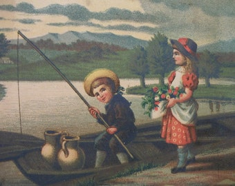 Cute Kids Fishing on the Shore in Canoe - Victorian Litho Art Print - 1800's