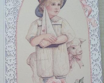 Cute Little Boy with Sailboat and Lamb - Watercolor Print - Jan Hagara - Vintage Greeting Card