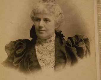 Distinguished Gray Haired Lady with Huge Puffed Sleeves and Lace Blouse - Identified Slossom- Antique Cabinet Photo - 1800's