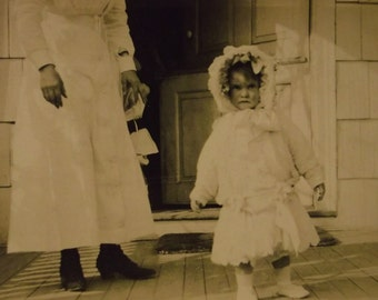 Cute Little Girl in Way Too Big White Coat and Hat - Real Photo Postcard - early 1900's
