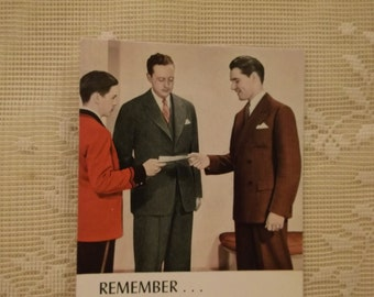 SALE....Young Men in Suits - Vintage Ink Blotter - Scott and Roberts Cleaners - Durham, North Carolina - 1930's