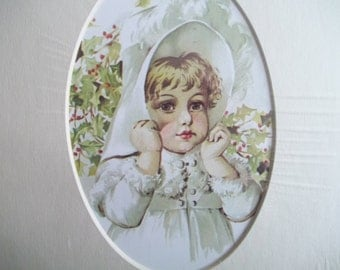 Pretty Little Girl in White Fur Coat and Large White Hat - Matted Art Print - Maud Humphrey - 1986