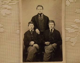 3 Young Men with Beard, Curly Hair and Striped Pants - Antique CDV Photo - 1800's