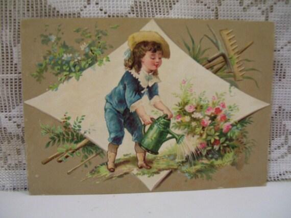 How Does your Garden Grow - Little Gardening Boy - Victorian Trade Card - Willett Coffee  - 1800's
