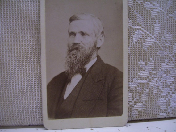 SALE---Old Man with Mustache and Long Scraggly Beard - Antique CDV Photo - Identified Mike Landor - 1800's