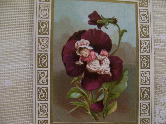 Sleeping Baby in Iris Petals - Ornate Gold Border - Great Poem  - Victorian Christmas Card - 1800's