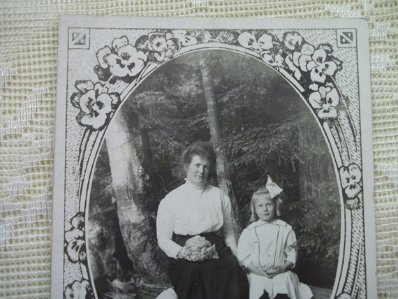 Mom with her Cute Little Blond Girl - Pretty Flower Border - Real Photo Postcard - early 1900's