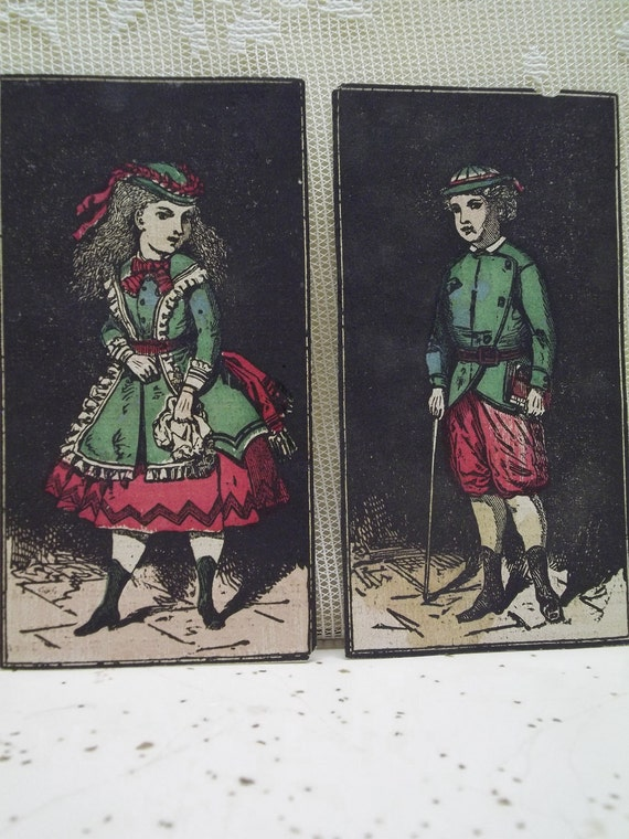 Cute Kids with Black Background - Hand Colored - Victorian Trade Card Lot - Wistars Balsam of Wild Cherry - 1800's