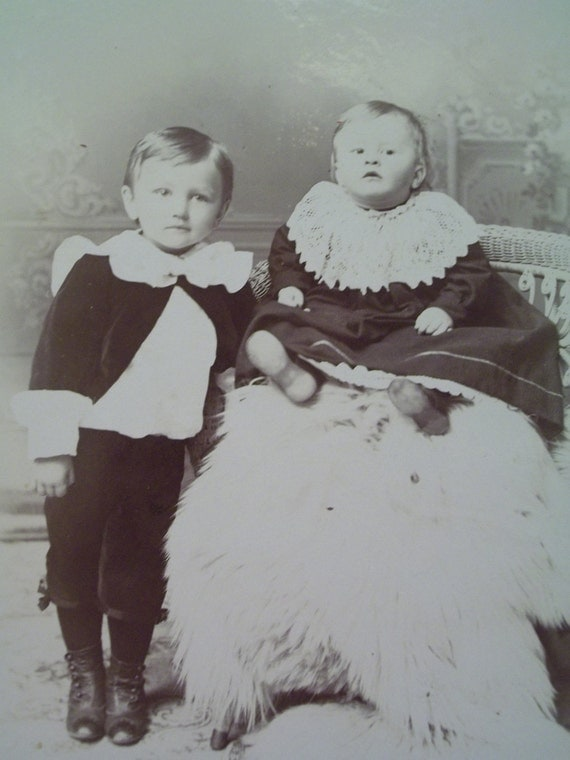 Cute Little Boy and Girl in Great Clothing with Large Lacy Collars - Antique Cabinet Photo - 1800's
