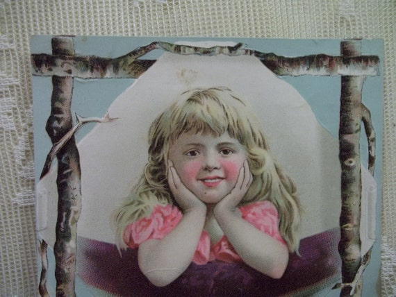 Pretty Little Girl with Long Blond Hair with Tree Branch Border - Victorian Trade Card Scrap - Fleischmann's Yeast - early 1800's