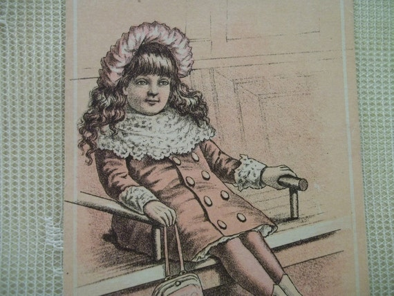 Little Shopping Girl w/ her Purse and Fashion Boots & Hat - Victorian Card Scrap - 1800's