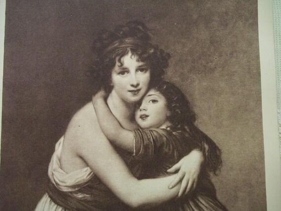 Self Portrait of Madame Lebrun and Daughter - Antique Art Print - 1913