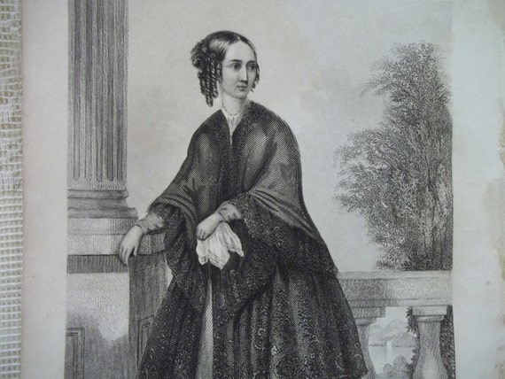Pretty Young Lady with Ringlet Curls on the Balcony - Myra C. Gaines - Antique Steel Engraving Print - 1848