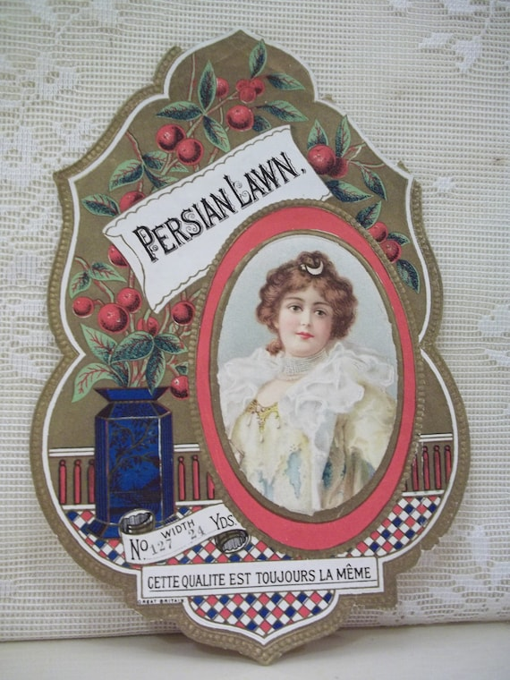 Large Die Cut Fabric Bolt Label - Beautiful Lady in Frilly Dress - Persian Lawn - early 1900's
