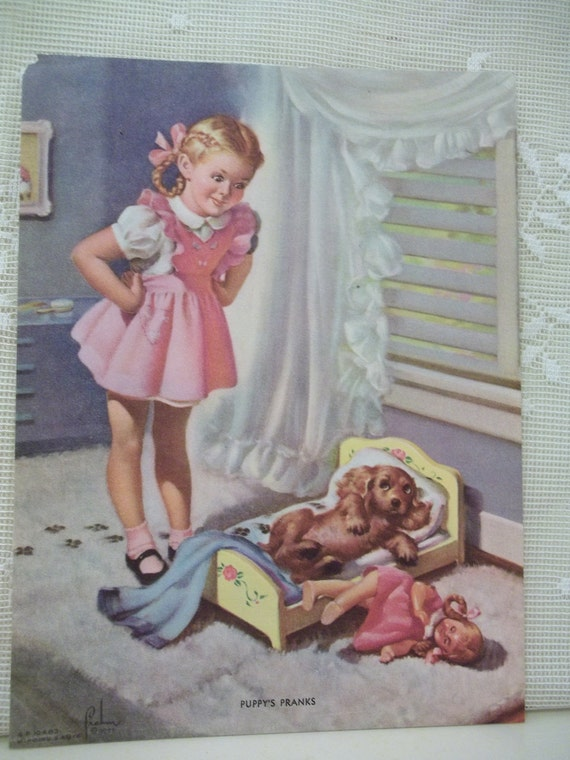 Cute Little Girl With Dog And Doll Vintage Art Litho Print