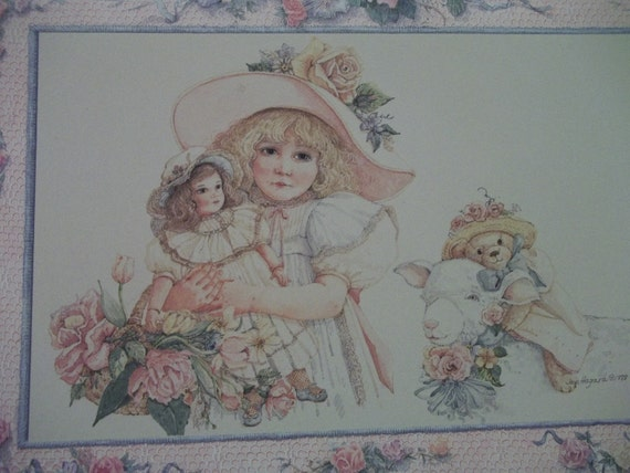 Pretty Girl Holding Doll with Bear and Lamb - Watercolor Print - Jan Hagara - Vintage Greeting Card