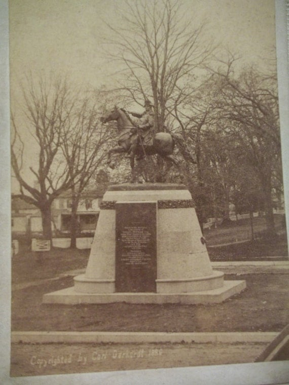 Man on Horse Statue - Israel Putnam Monument - Brooklyn, Connecticut - Antique Cabinet Photo - 1888