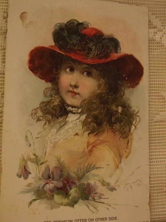 Beautiful Girl with Large Hat and Long Frizzy Hair - Victorian Trade Card - Lion Coffee - 1894
