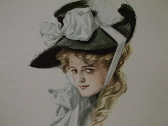 Pretty Lady with Large Hat and Long Hair - Vintage Reprint of a Harrison Fisher 1906 Art Print - 1970's