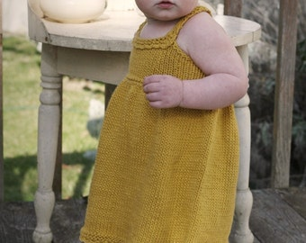 KNITTING PATTERN // Elsie Sundress // top-down cotton baby dress -- PDF