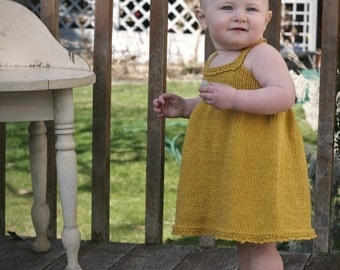 KNITTING PATTERN // Elsie Sundress // top-down cotton toddler baby dress -- PDF