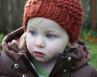 KNITTING PATTERN // Autumn Leftovers // super bulky seed stitch beanie hat -- PDF