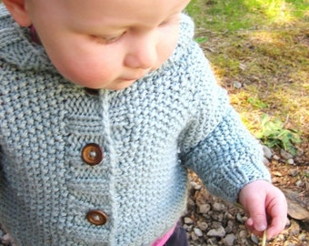 KNITTING PATTERN // Manda Ruth cardigan // top-down seed stitch hooded sweater cardigan toddler baby knitting pattern -- PDF download