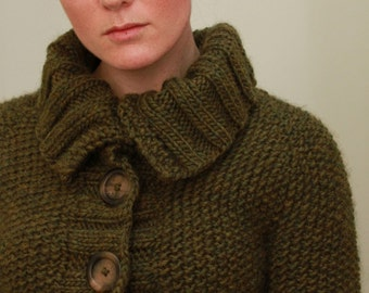 KNITTING PATTERN // Sedum cardigan // top-down seed stitch sweater -- PDF
