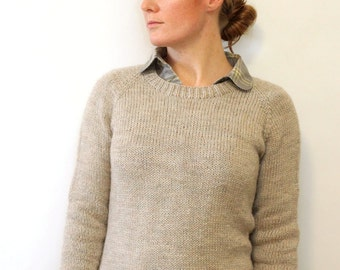 KNITTING PATTERN // Ladies Classic Raglan Pullover // top down worsted sweater -- PDF