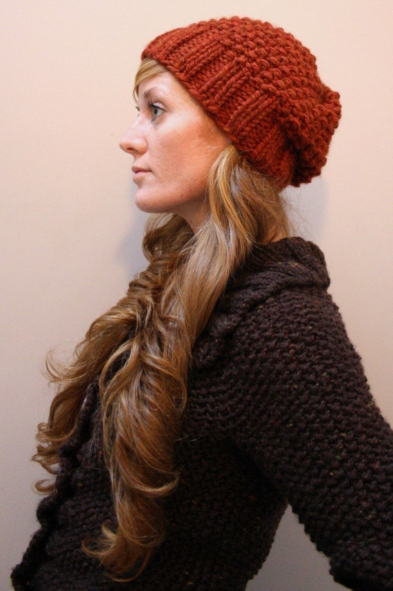Free Knitting Pattern Hat Bulky Yarn : KNITTING PATTERN // Autumn // hat seed stitch super bulky PDF