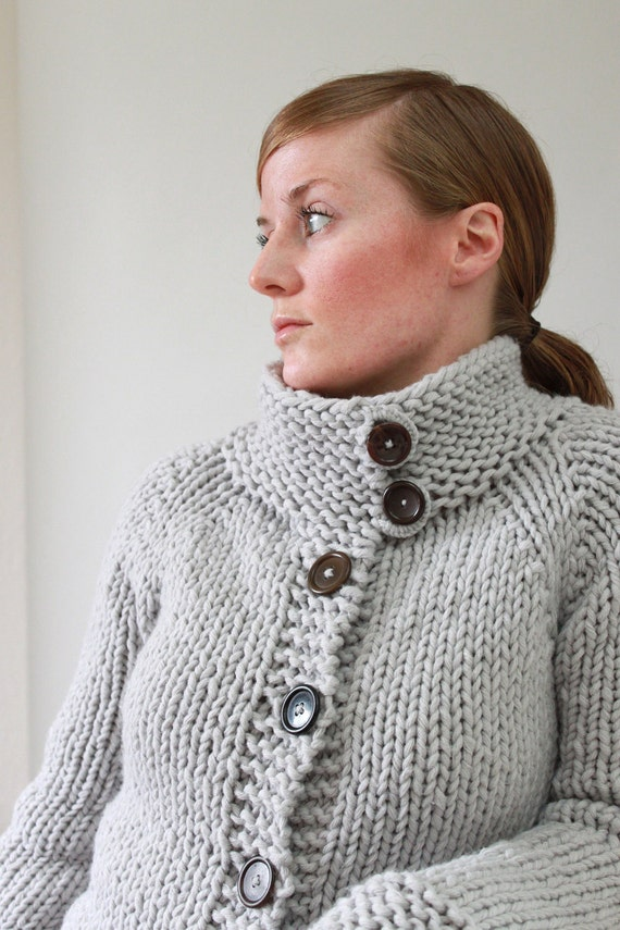 Knitting Patterns Bulky Yarn Sweater : KNITTING PATTERN // Twiggy Cardigan // top-down super bulky