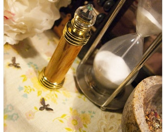 natural perfume oil held captive within delux bottle - the bellatrix bottle -woodgrain model- for charms & potions - over 60 aroma options